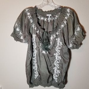 Joie Size Large Peasant Embroidered Top 100% Silk